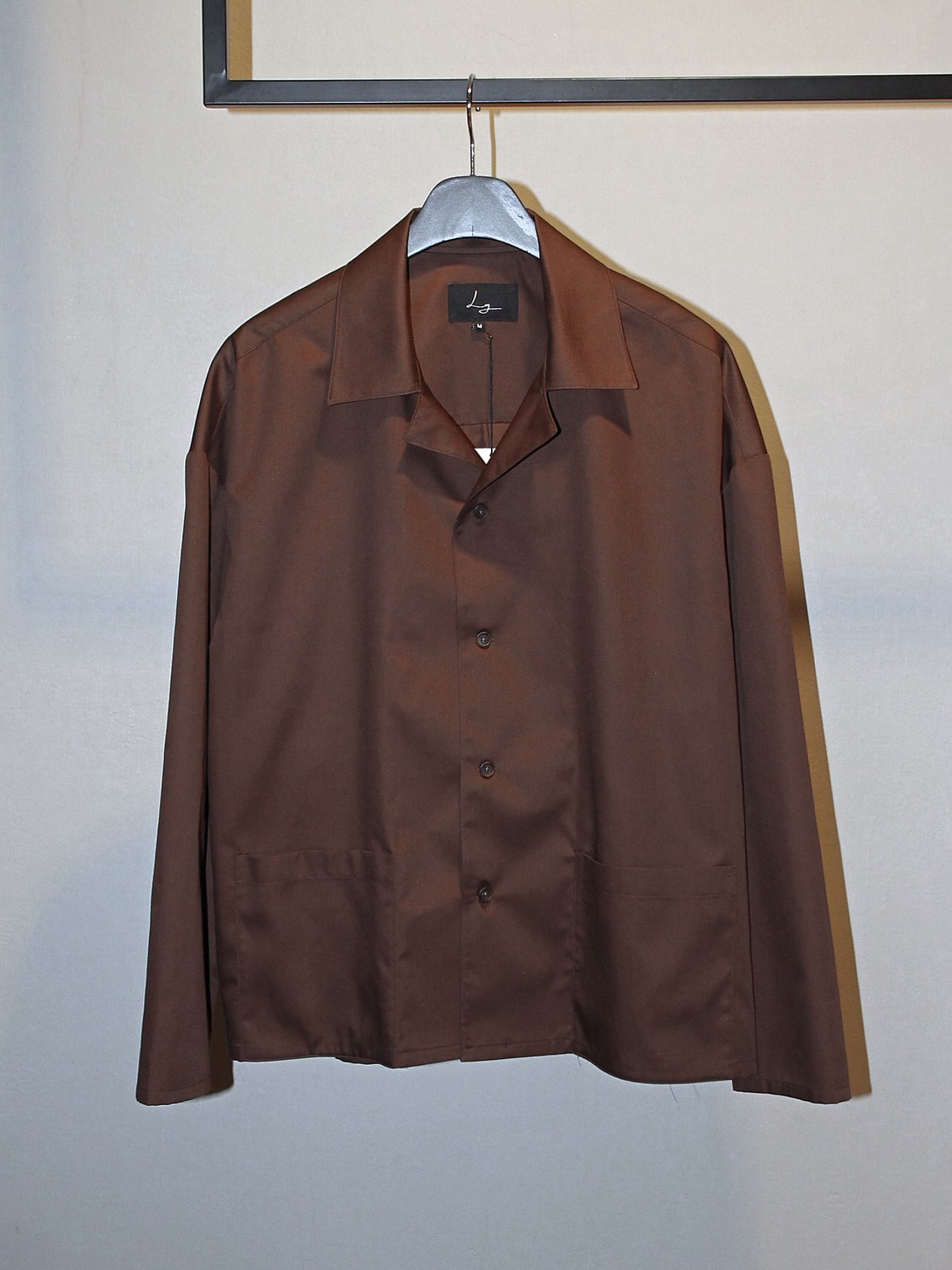 [Log] Oversized Open Collar Jacket - Brown