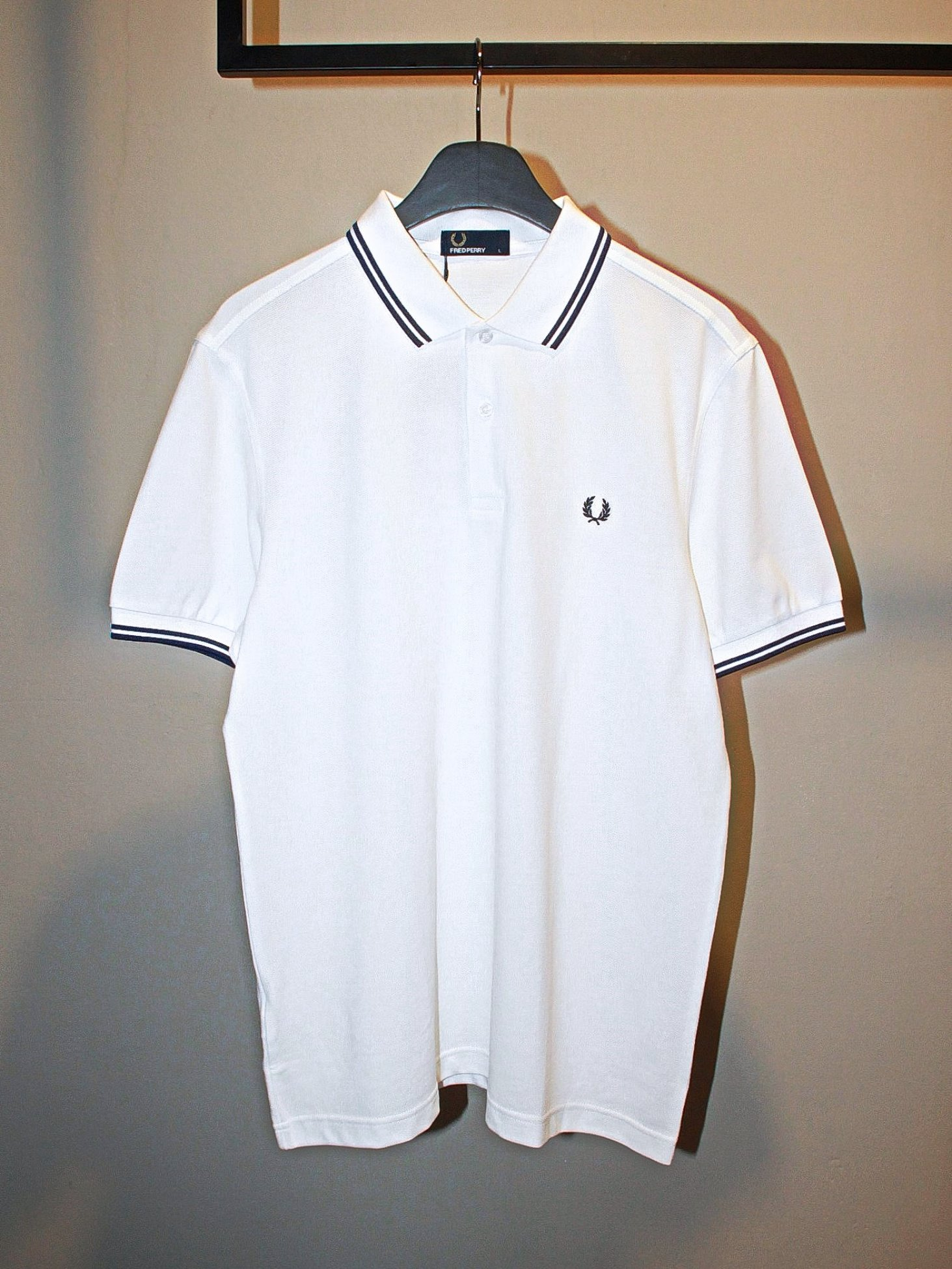 [Fred Perry] Twin Tipped FP Shirt - White/French Navy