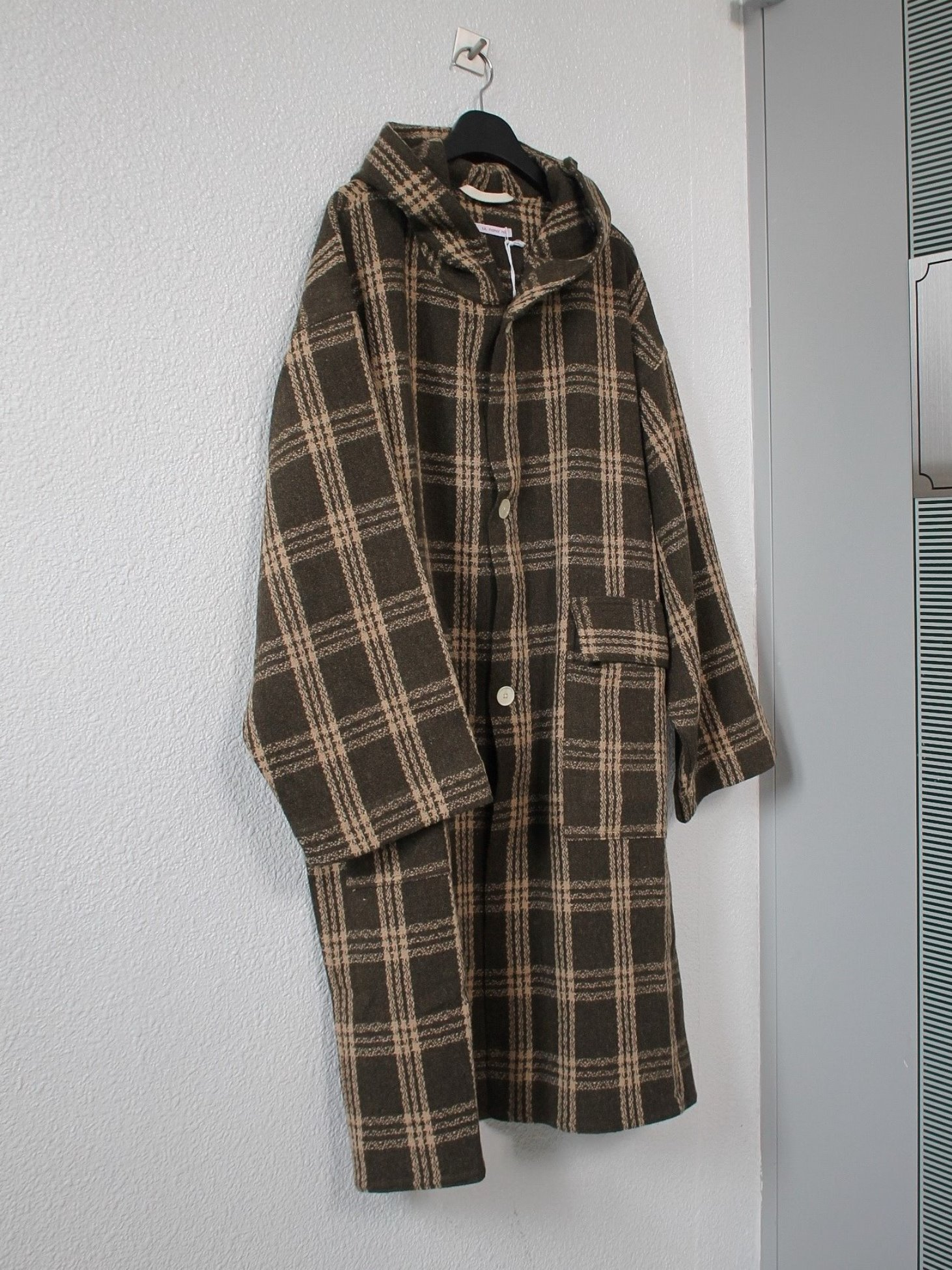 [s.k. manor hill] Hooded Canopy Coat - Brown Plaid
