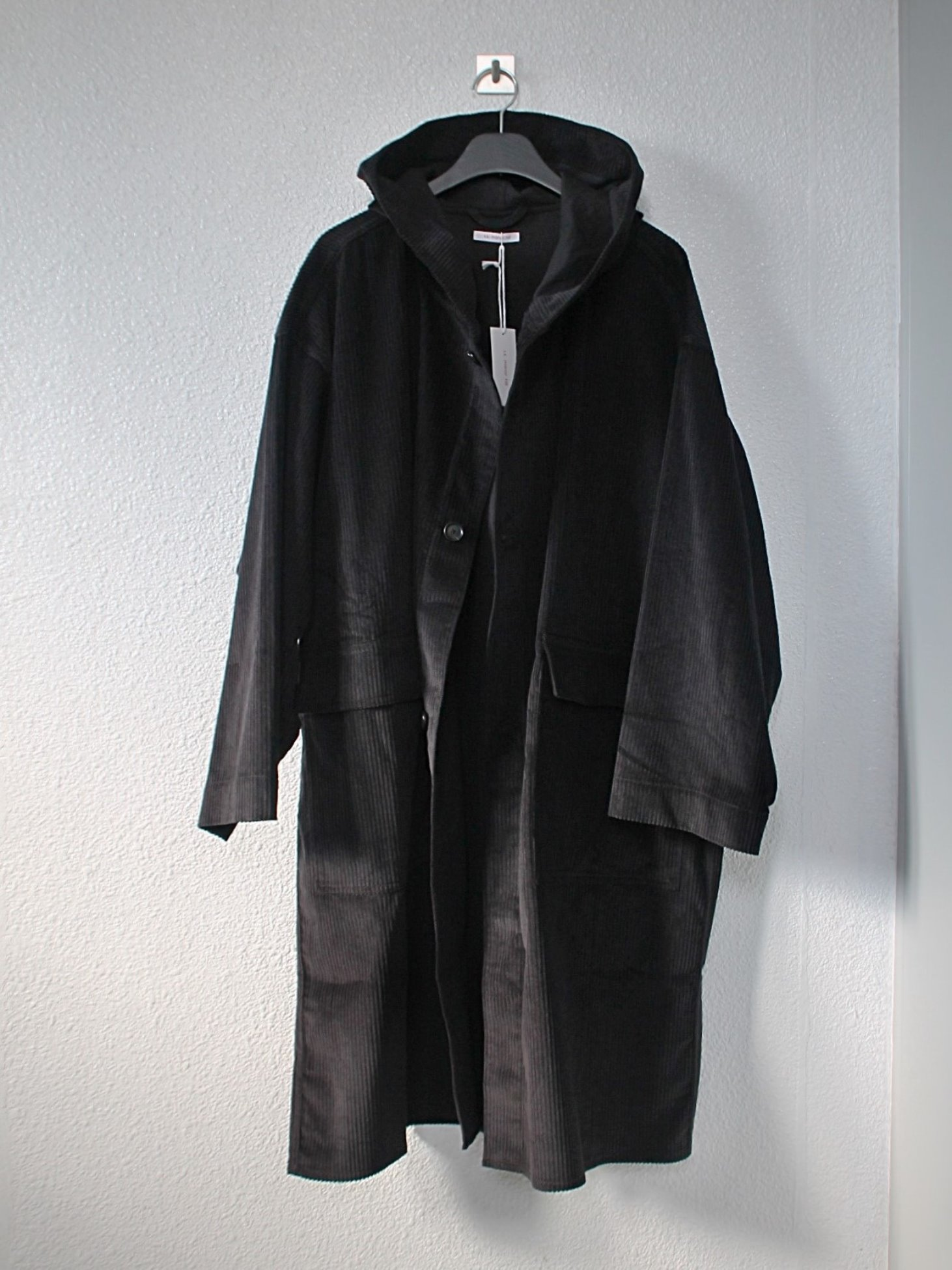 [s.k. manor hill] Hooded Canopy Coat - Black Corduroy
