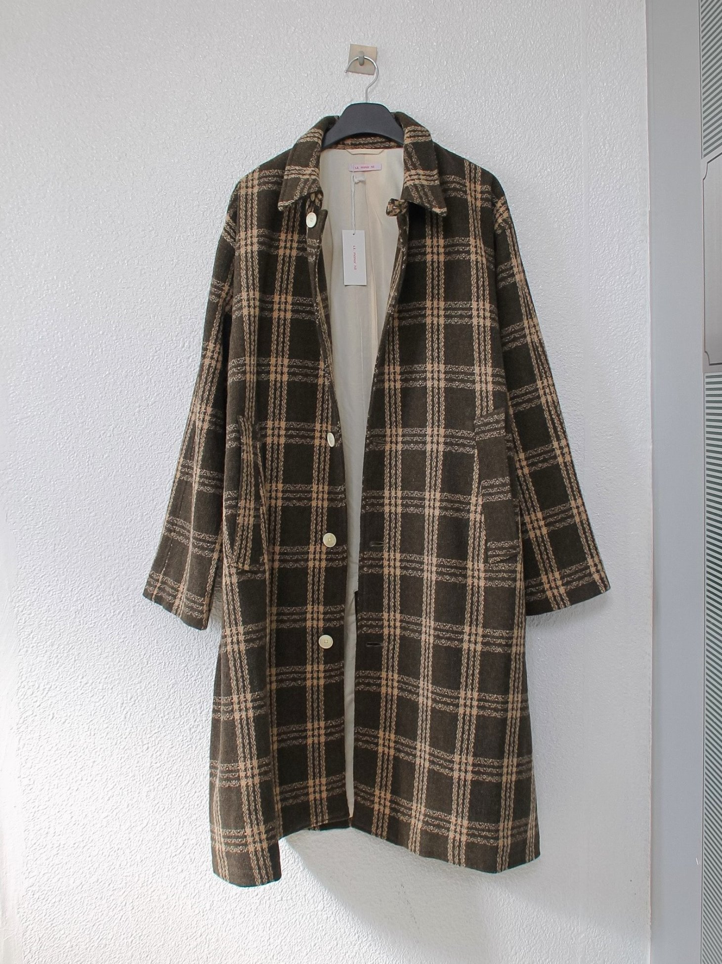 [s.k. manor hill] Shelby Trench Coat - Brown Plaid