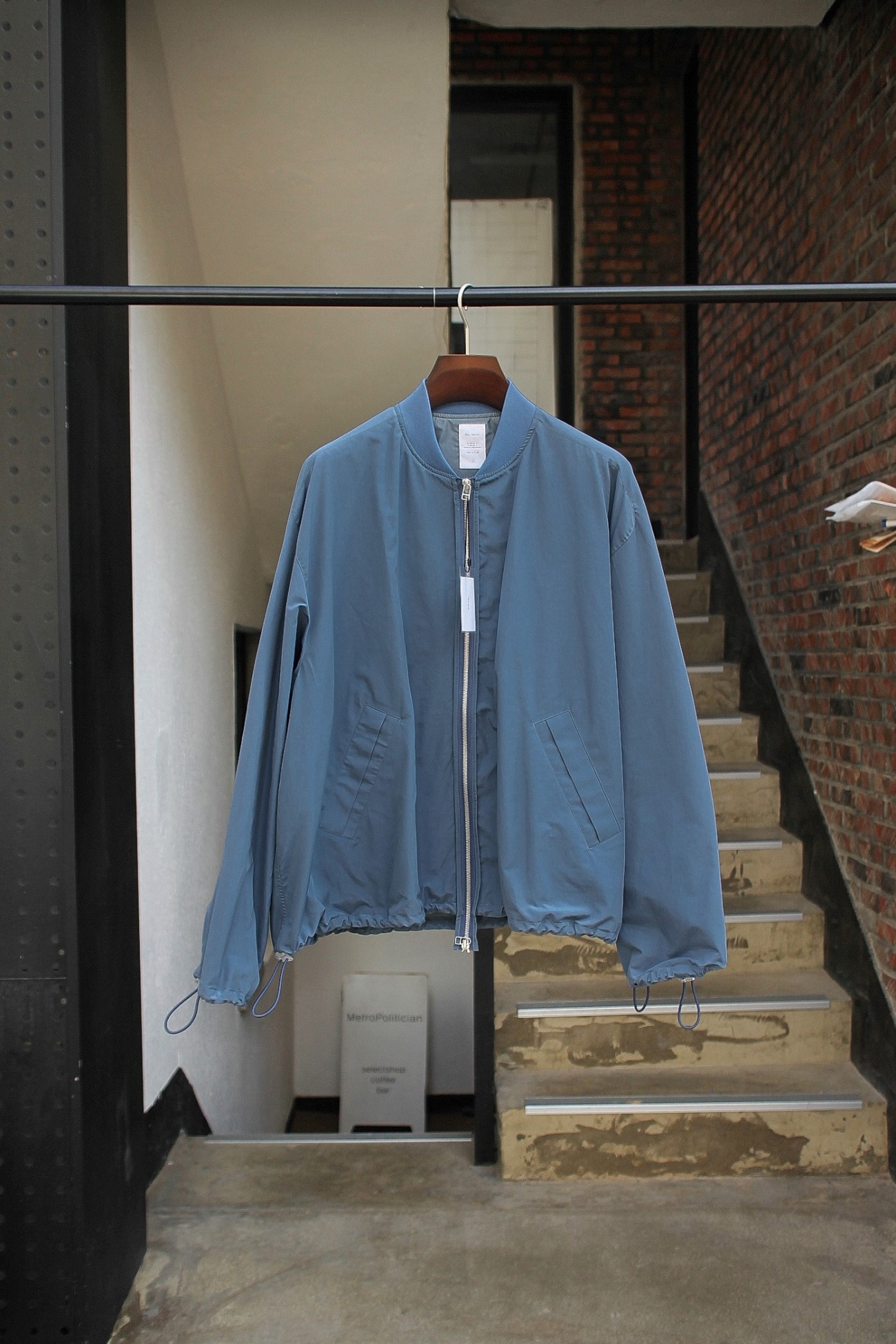 [Name.] C/N Tussah Bomber Jacket - Blue Gray