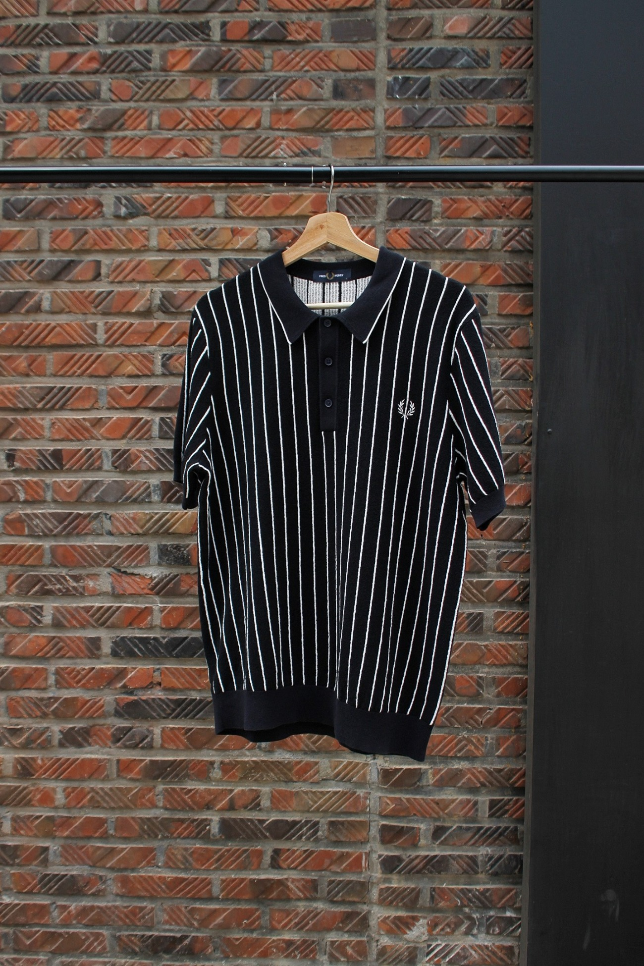 [FRED PERRY] Stripe Knitted Shirt - Navy