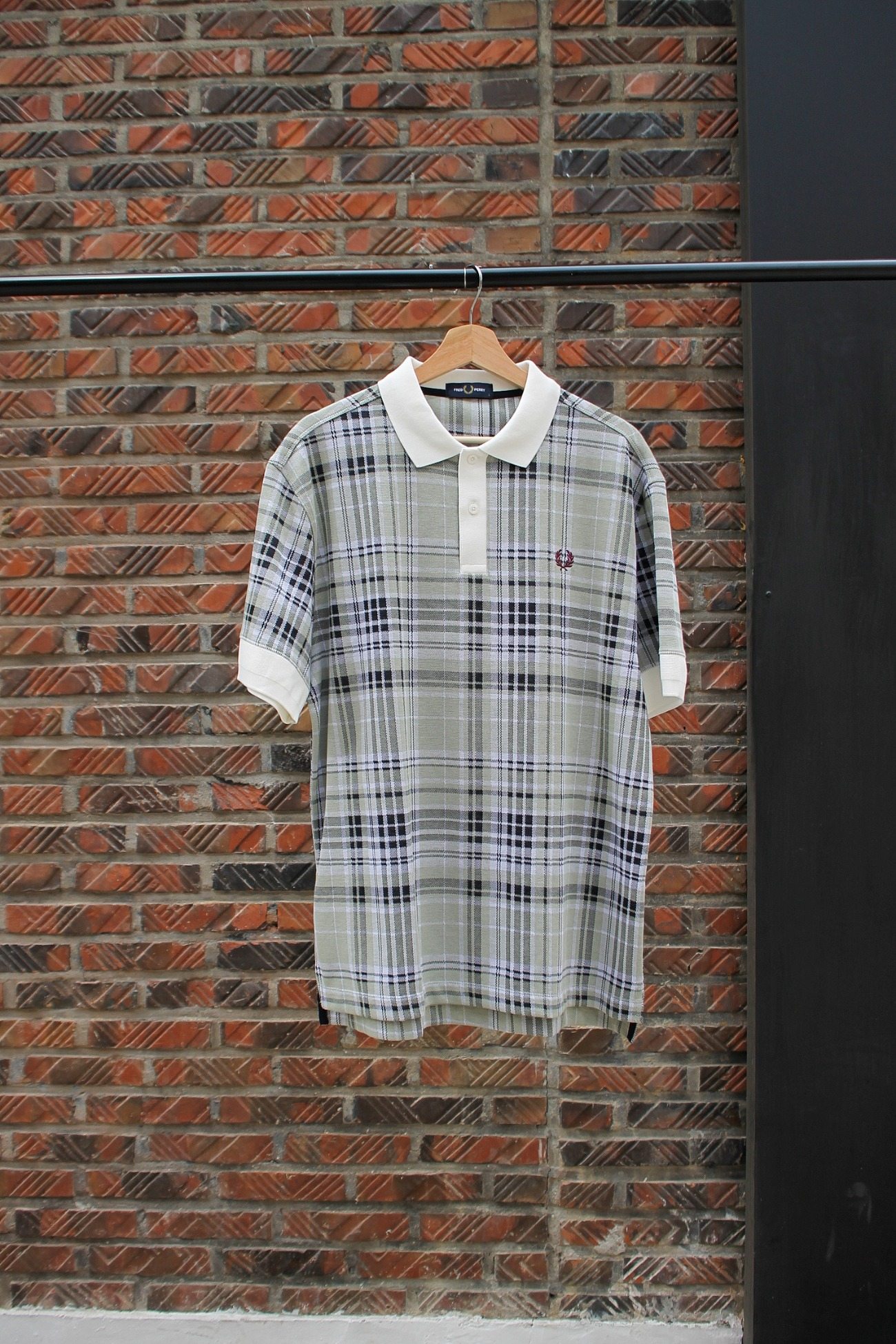 [FRED PERRY] Jaquard Check Polo Shirt - Snow White