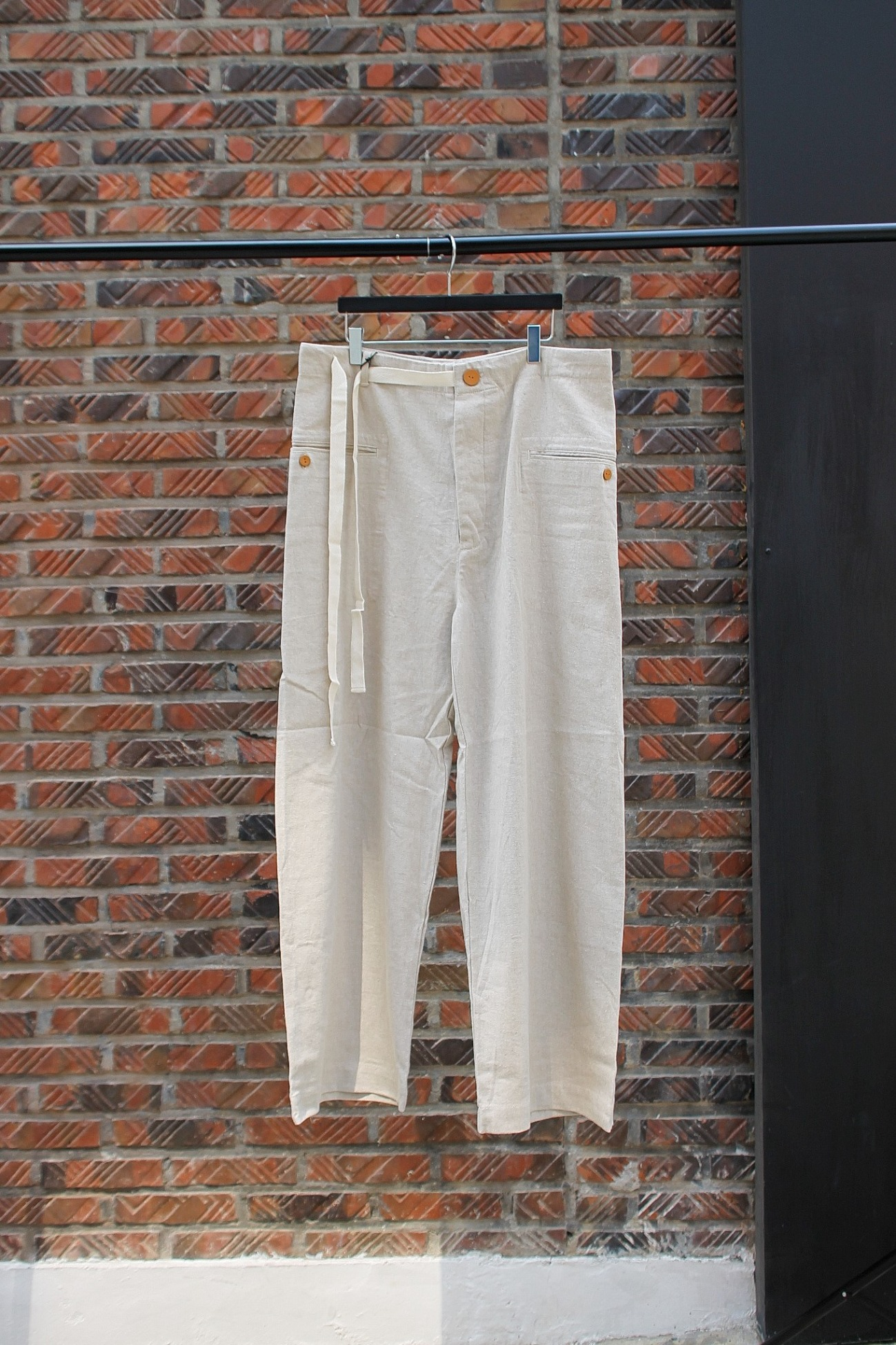 [EASY TO WEAR] Linen Canvas Baggy Pants - Natural