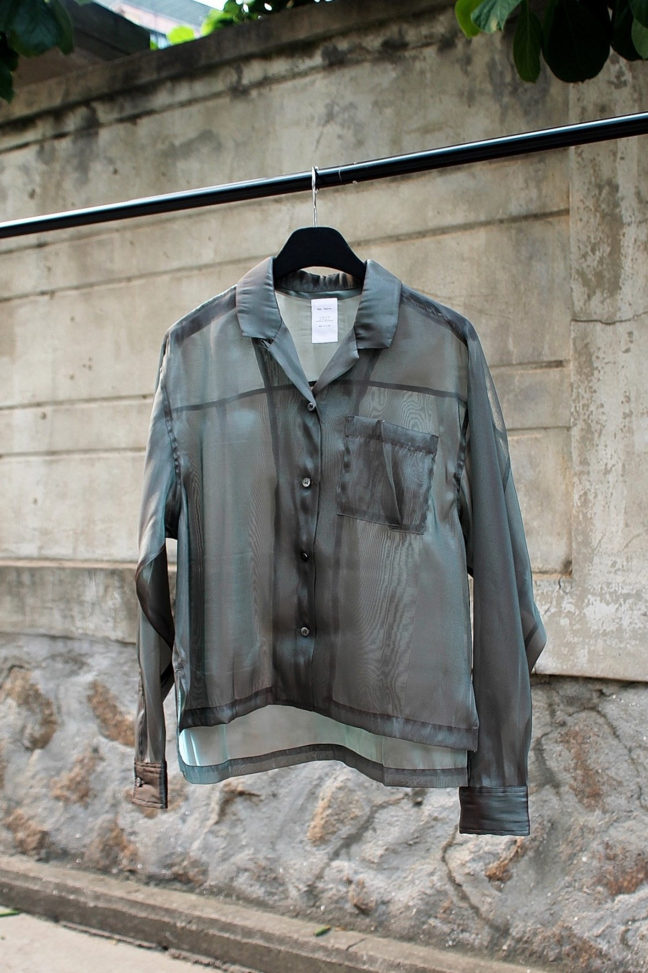 [Name.] Bright Chambray Open Collar Shirt (Women) - Olive