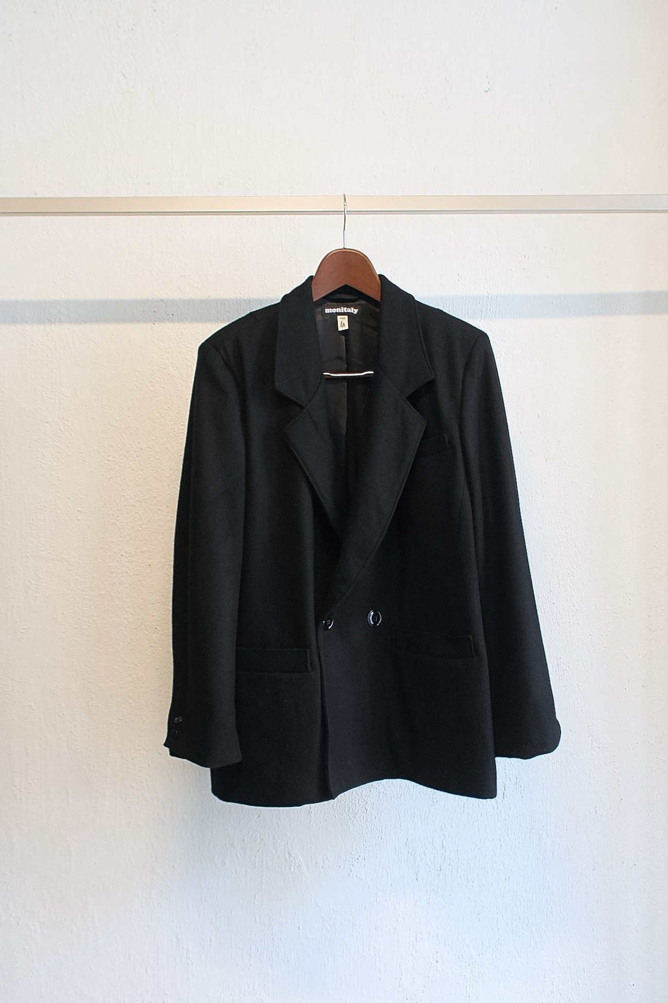 [Monitaly] Mickey Jacket - Wool Flannel Solid Black