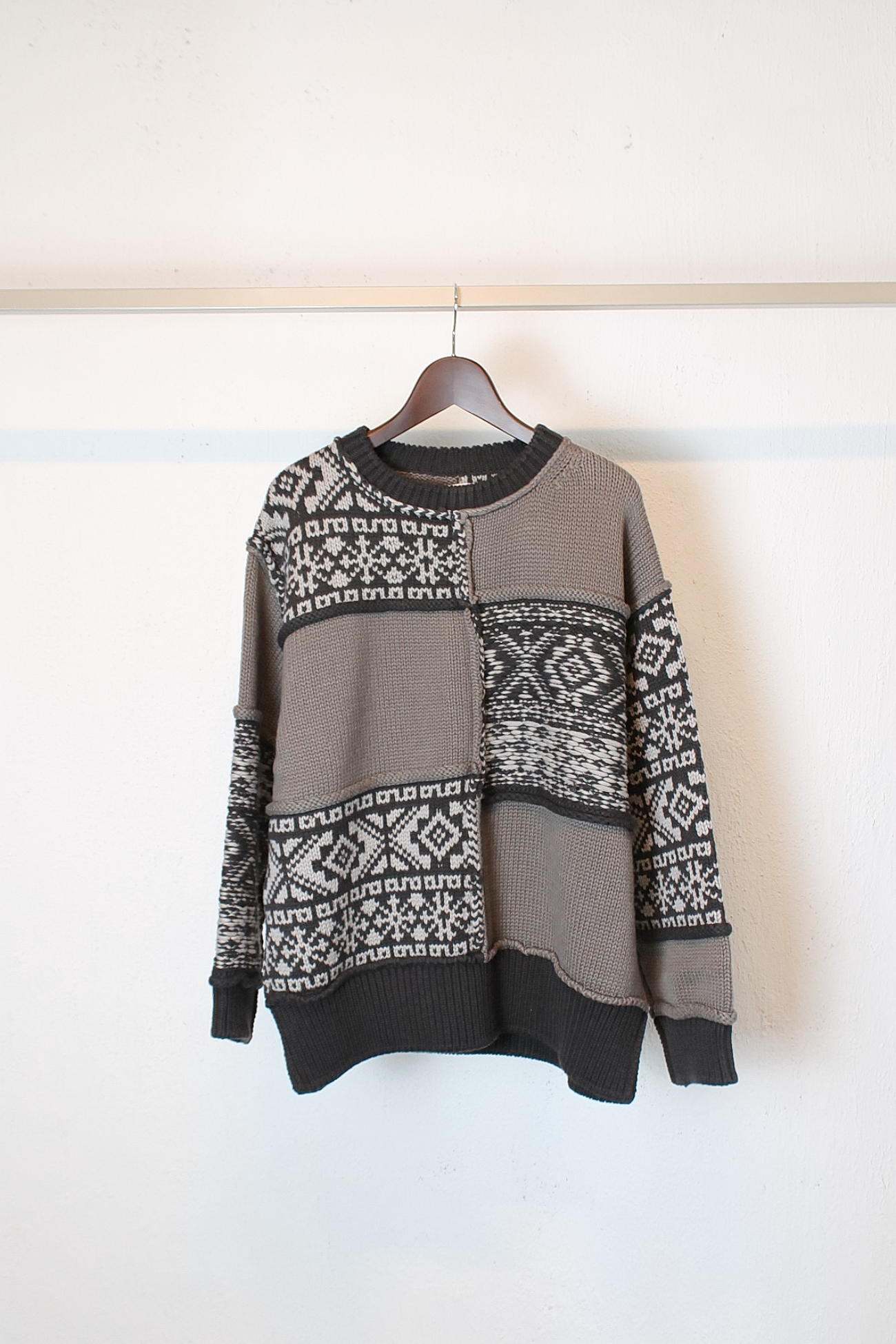 [Name.] Nordic Patchwork Knit Sweater - Brown
