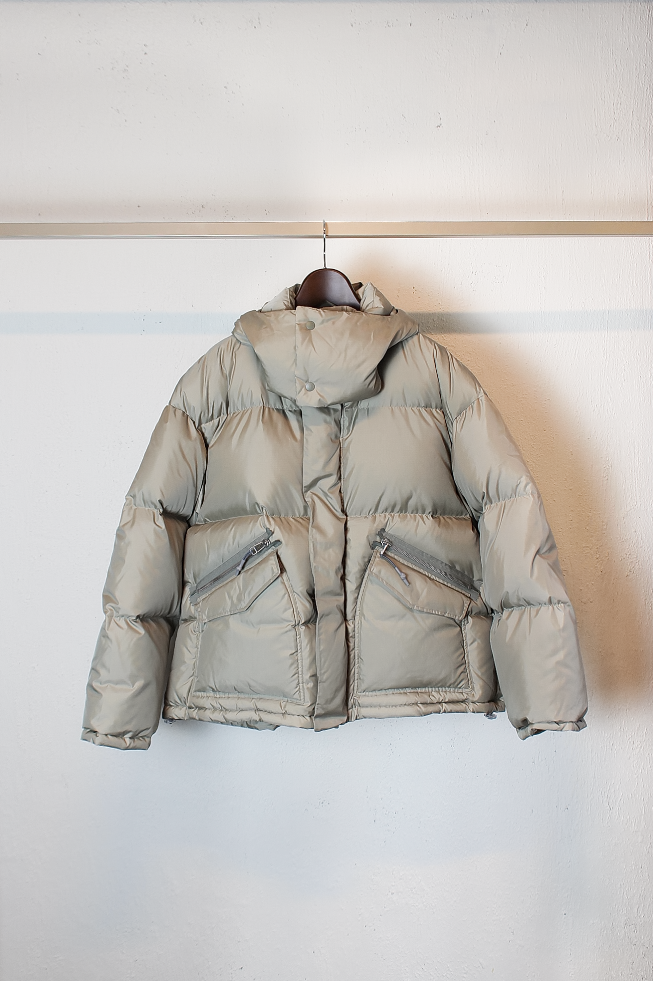 [Name.] Ripstop Oversized Down Jacket - Beige