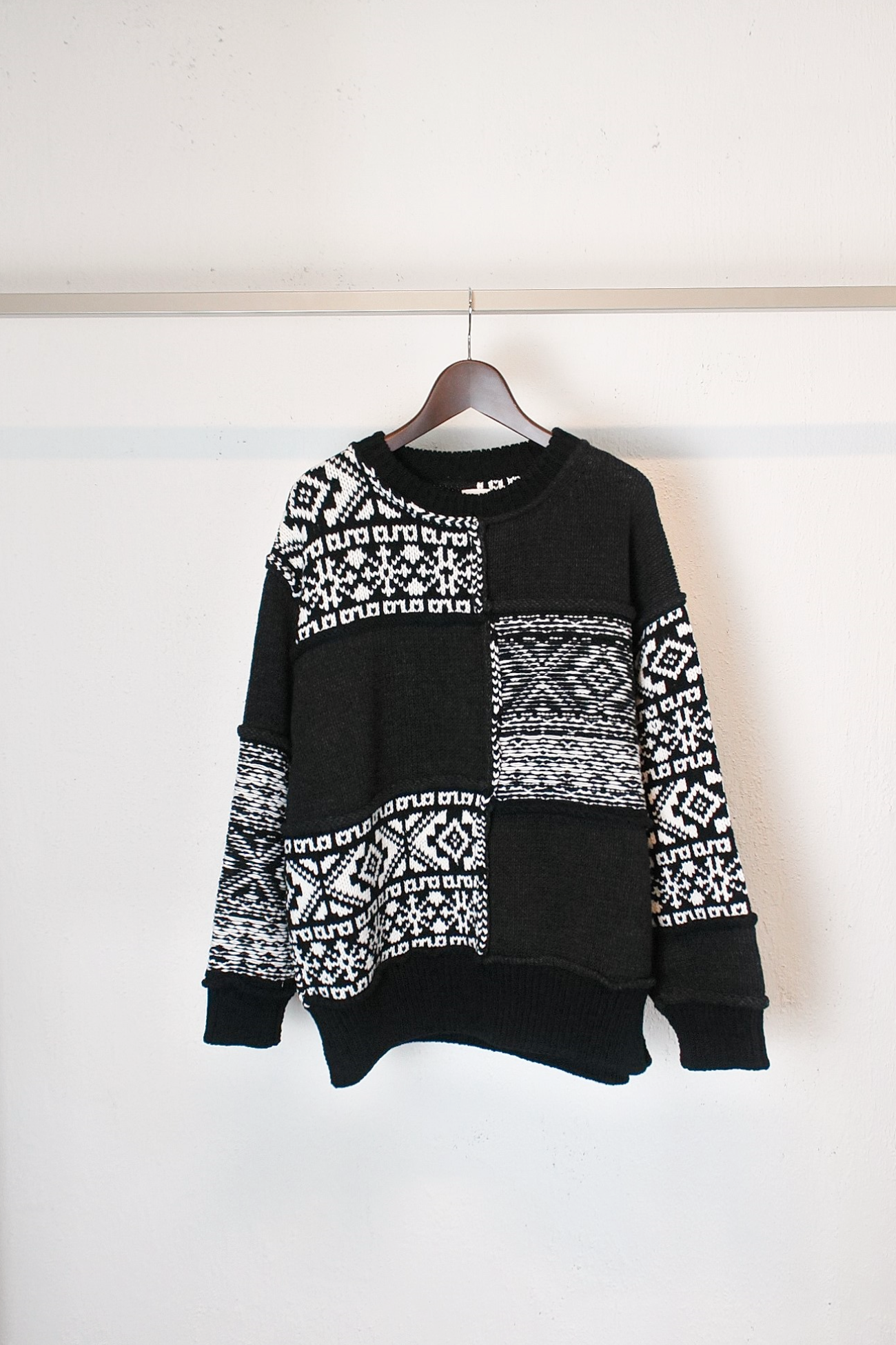 [Name.] Nordic Patchwork Knit Sweater - Black