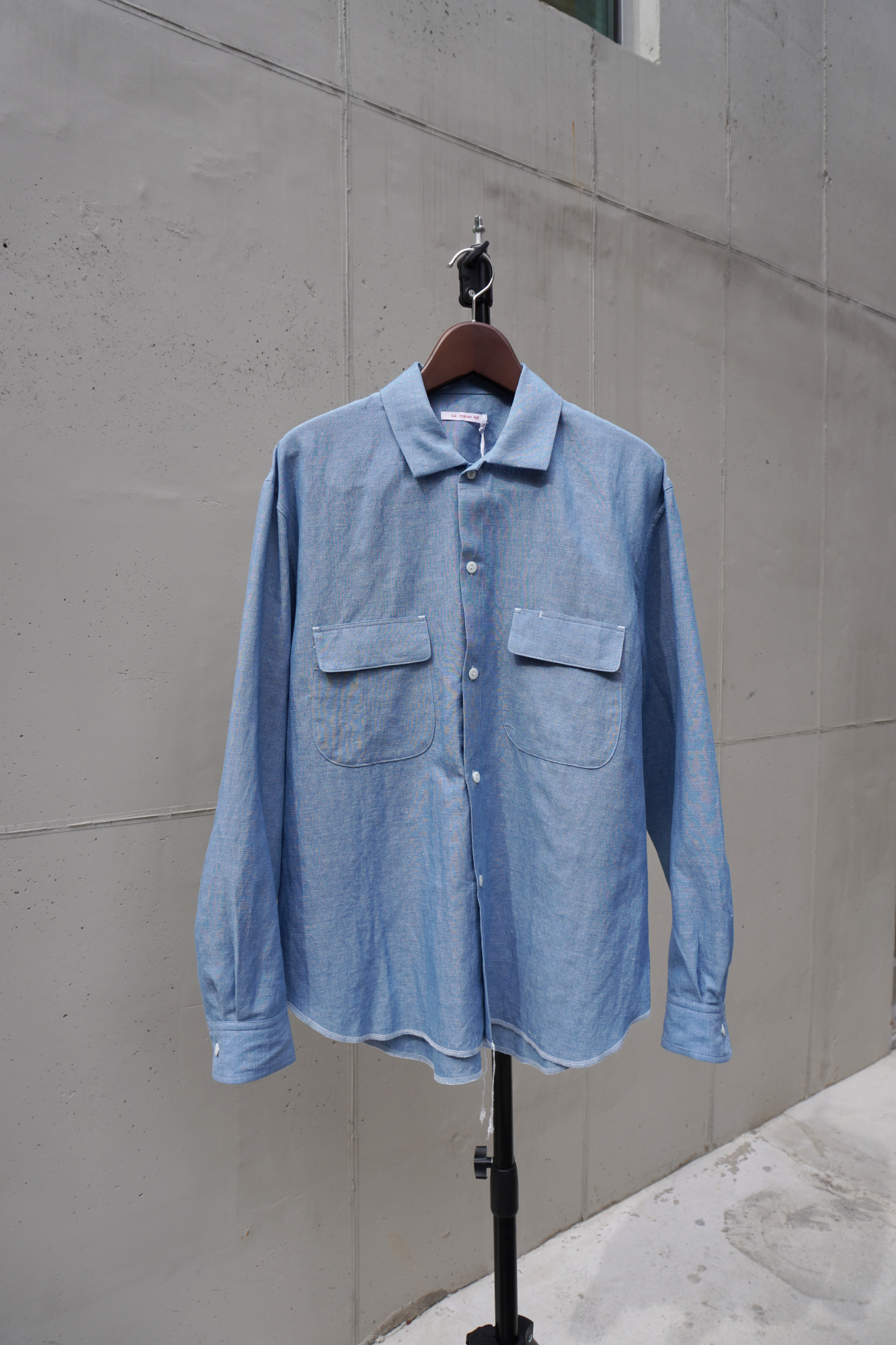 [S.K. MANOR HILL] Moil Shirt - Indigo Cotton/Linen